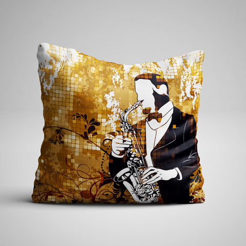 Vintage Sax One Side Pillow Cover