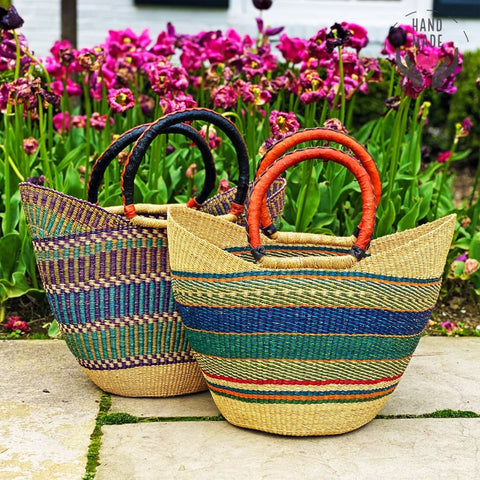 Bolga Tote With Leather Handle Bags