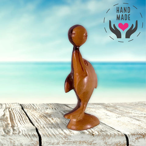 Bouncing Beluga Mahogany Sculpture Sculptures
