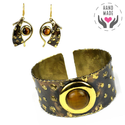 Brass & Golden Tiger Eye Set Jewelry