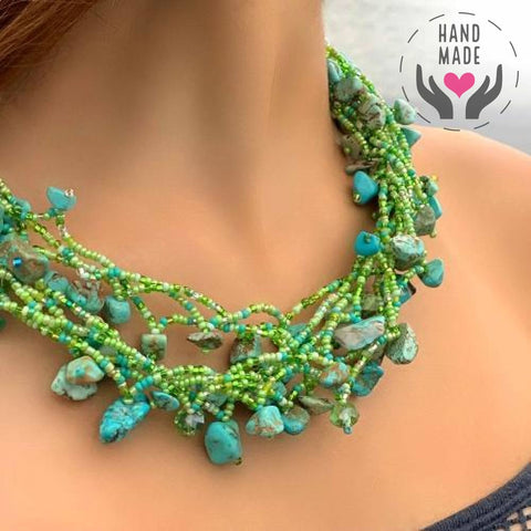 Chunky Stone Necklace - Seafoam Greens