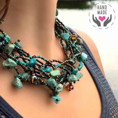 Chunky Turquoise Stone Handmade Necklace