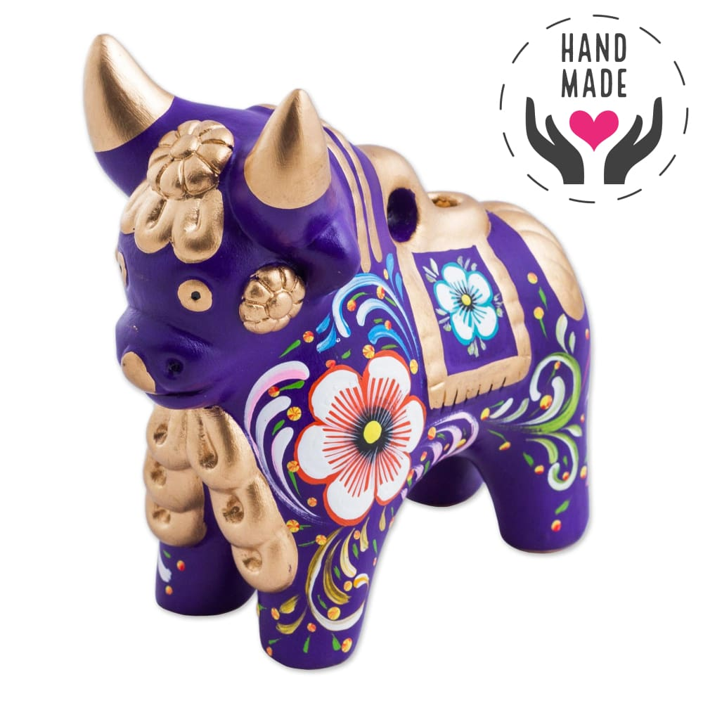 Colorful Dionisio Purple Pucara Bull Sculptures