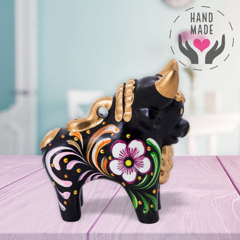 Colorful Loreto Black Ceramic Pucara Bull Sculptures