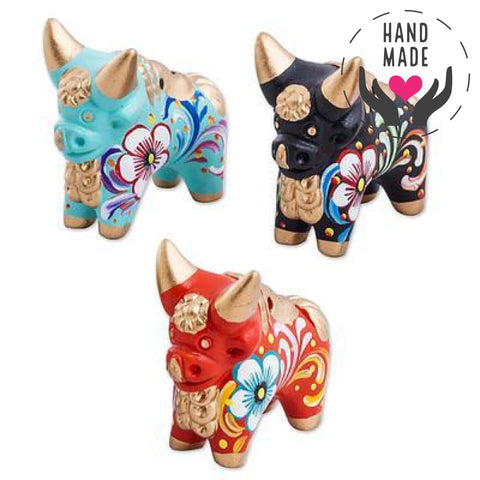 Colorful Set Of Three Pucara Bulls Sculptures
