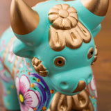 Colorful Timoteo Aqua Pucara Bull Sculptures