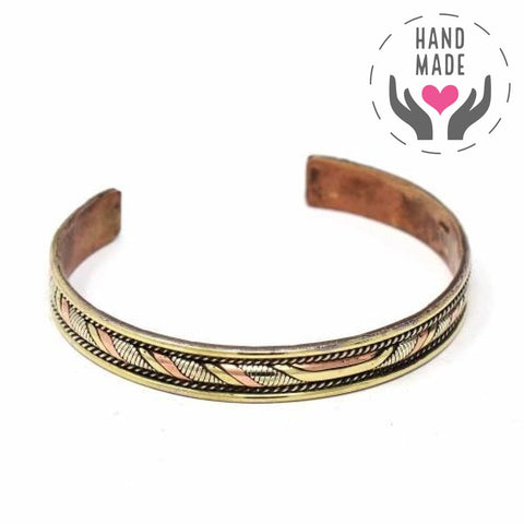 Copper And Brass Handmade Cuff Bracelet - Healing Twist