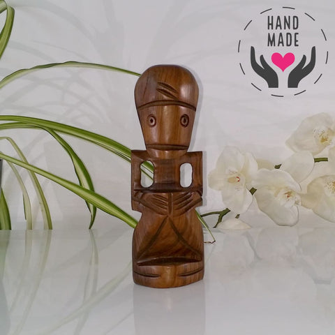 Dominican Idol Mahogany Statuette Sculptures