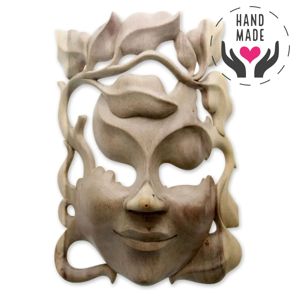 Floral Smile Hibiscus Wood Mask Masks
