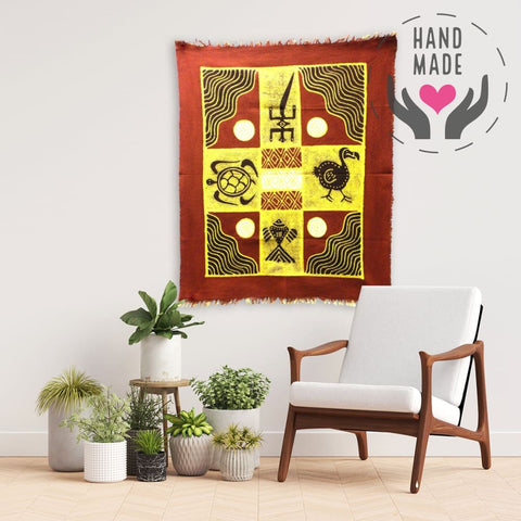Four Creatures Batik Wall Art Tapestries