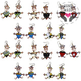 Girls Heart Body Tin Earrings In Various Colors (Set Of 10 Pairs)