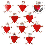 Girls Heart Body Tin Pins In Red (Set Of 10 Pins) Jewelry