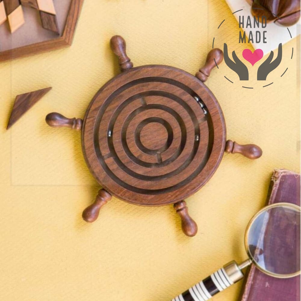 Hand Carved Rosewood Nautical Labyrinth Sculptures