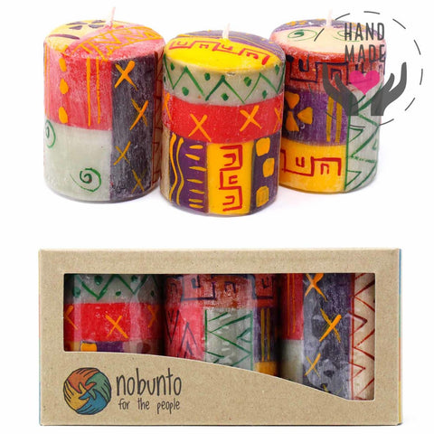 Hand-Painted Candles - Indabuko Design (Box Of 3)
