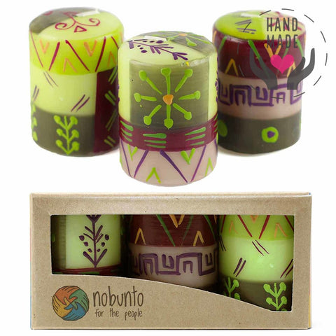 Hand Painted Candles - Kileo Design (Box Of 3)