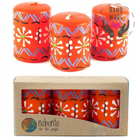 Hand Painted Candles - Masika Design (Box Of 3)