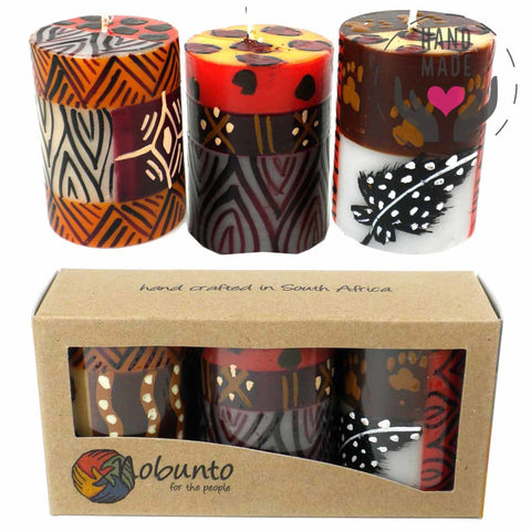 Hand-Painted Candles - Uzima Design (Box Of 3)