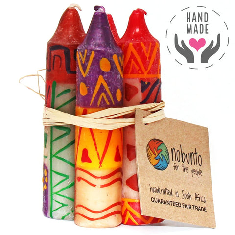Hand-Painted Indabuko Design Candles (Set Of 4)