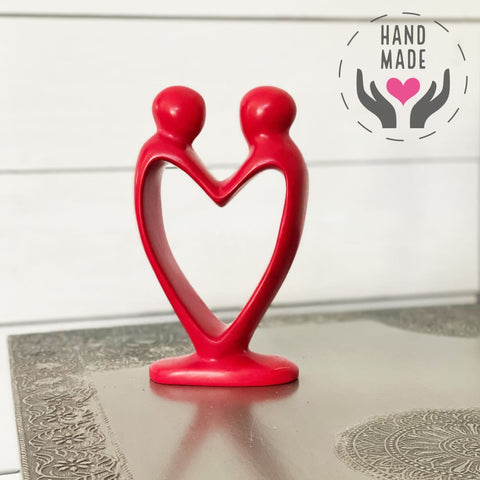 Handcrafted Soapstone Lovers Heart Sculpture In Red Sculptures