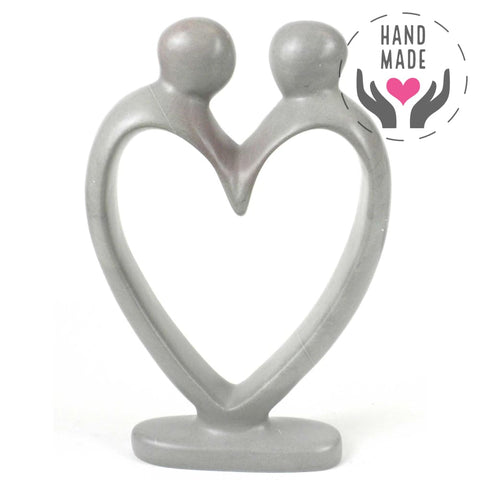 Handcrafted Soapstone Lovers Heart Sculpture In White Sculptures