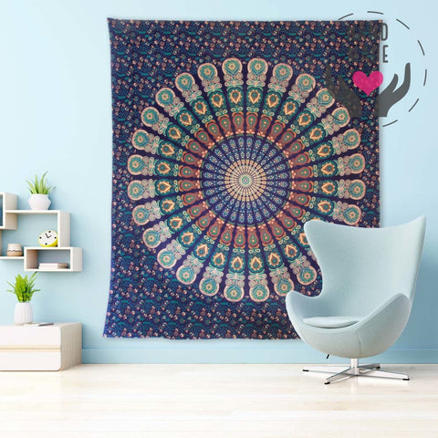 Indian Blue Jasmine Tapestry Tapestries