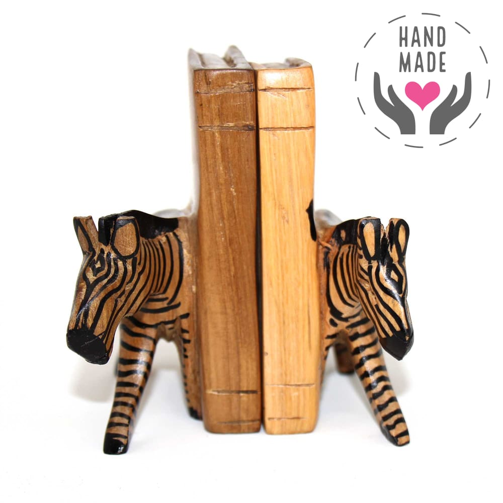 Jacaranda Carved Wood Zebra Bookends