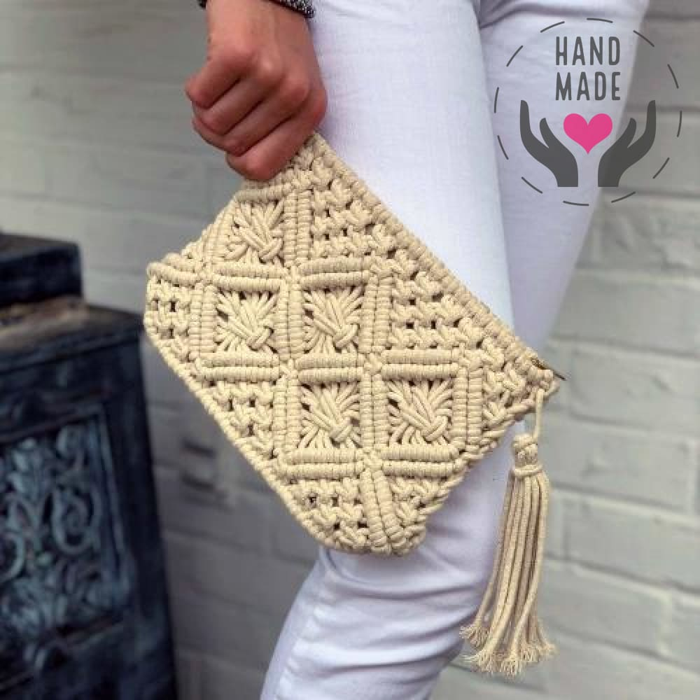 Macrame Clutch With Tassel Bags