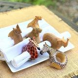 Mahogany Wood Animal Napkin Rings (Set Of 6) Napkins &