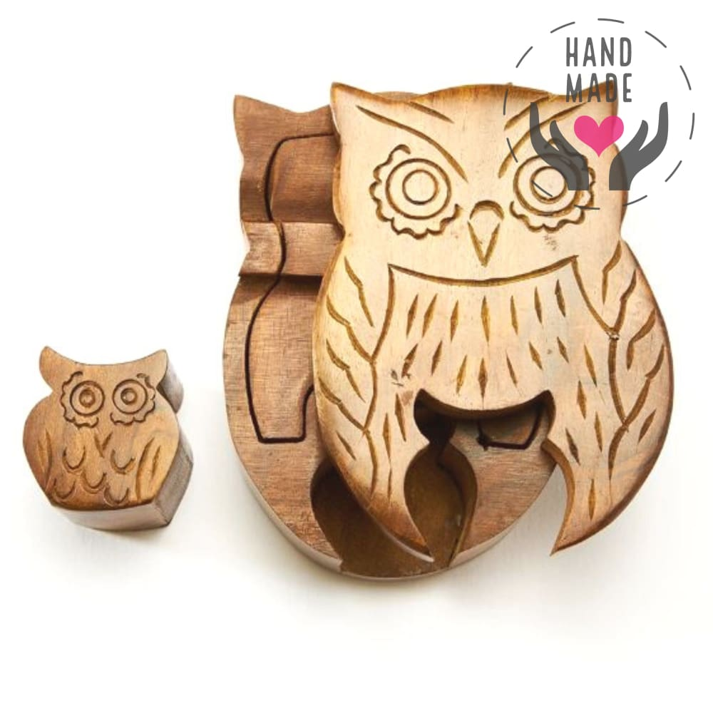 Mama Owl Rosewood Puzzle Box Decorative Boxes