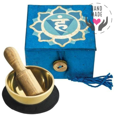 Mini Meditation Bowl Box - Throat Chakra