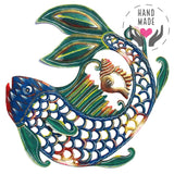 Painted Fish & Shell Metal Steel Drum Wall Art
