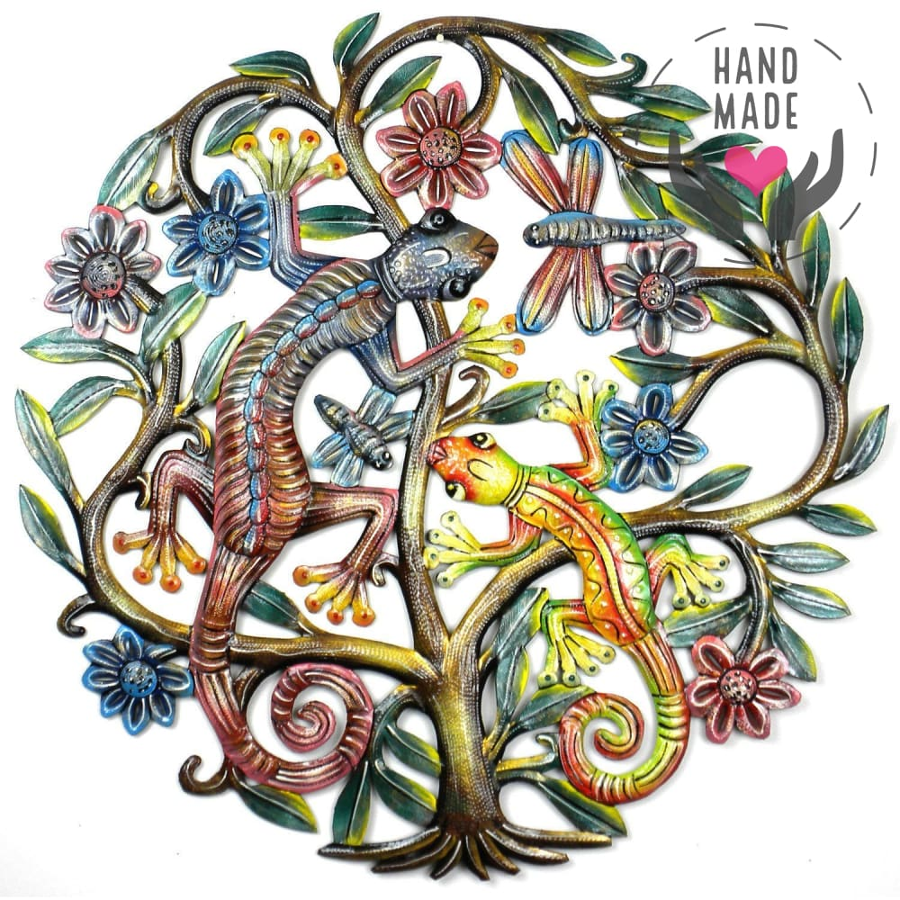 Painted Geckos Tree Of Life Metal Steel Drum Wall Art