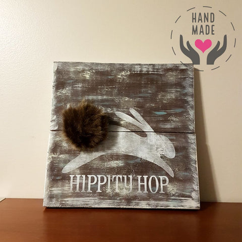 Pompom Rabbit Wood Plaque