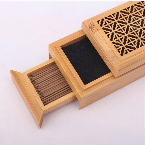Moucharabieh Natural Bamboo Incense Burner with Storage