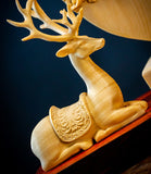 Mandchurian Elks Hand-Carved Boxwood Sculpture