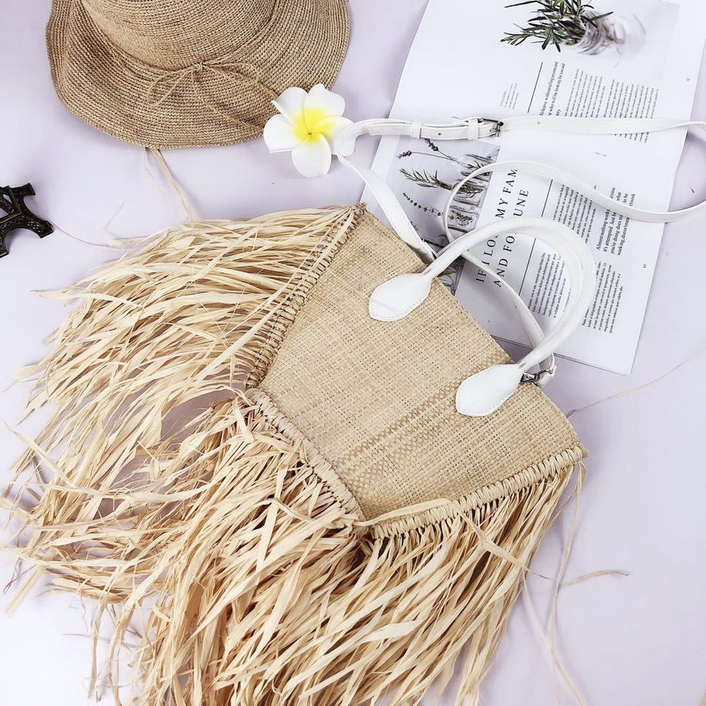 Straw Frill Statement Canvas Handbag