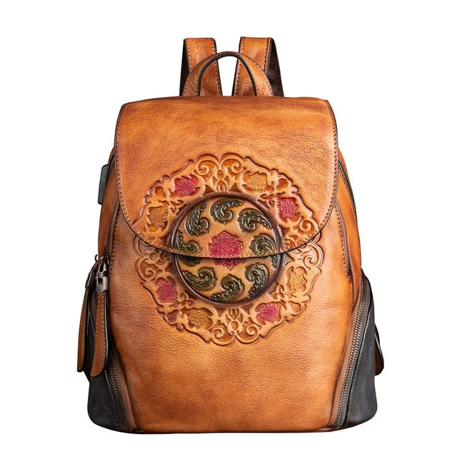 Universal Nature Genuine Leather Globe-Trotter Solid Backpack with USB