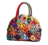 Flower Power Genuine Leather Handbag