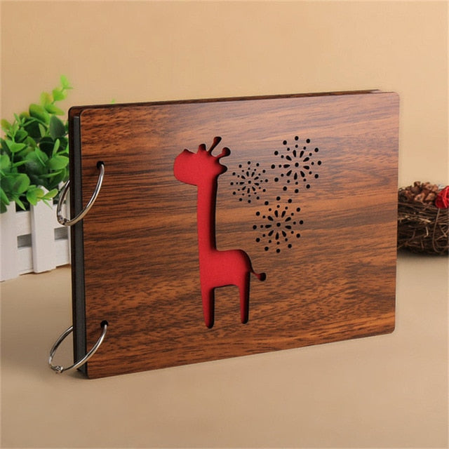 Glam Giraffe Wood Cover Photo Album