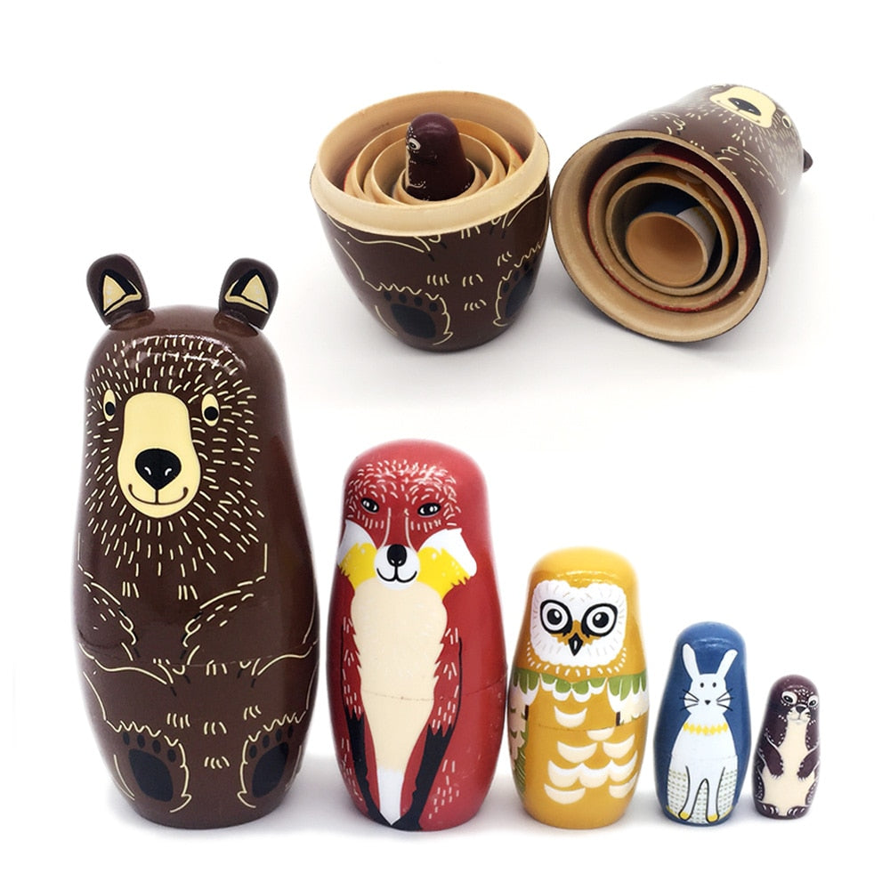 Basswood Russian Dolls Forest Friends