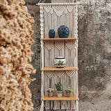 Boho Macrame Wall Art with 3 Shelves