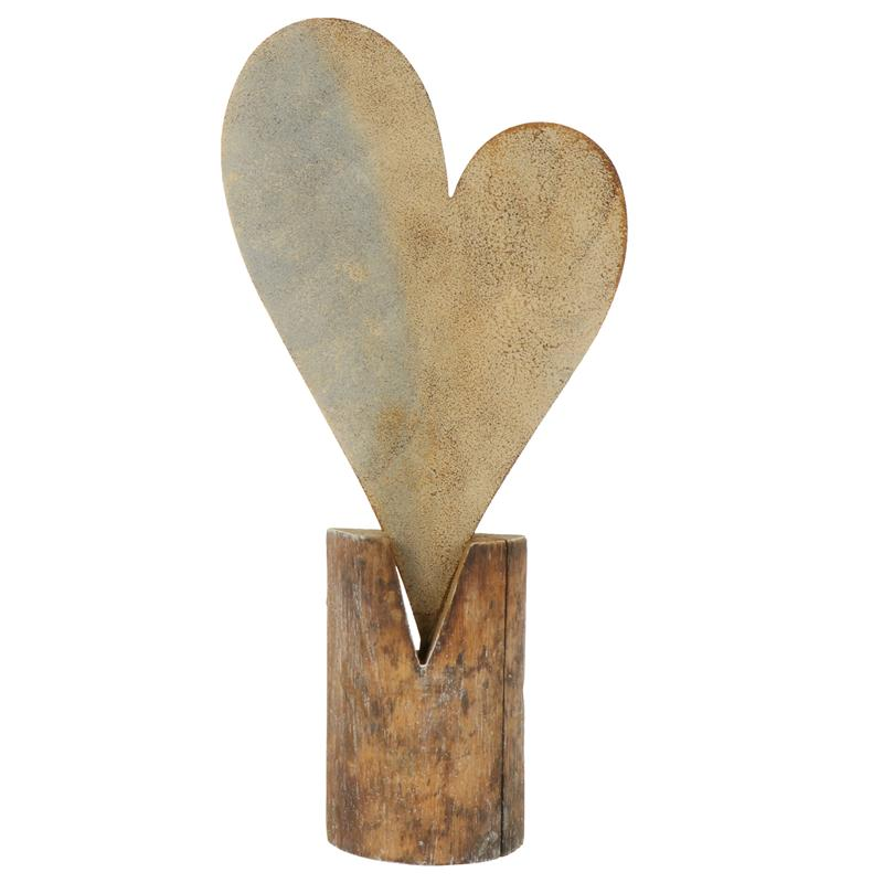 Rustic Love Iron & Wood Sculpture