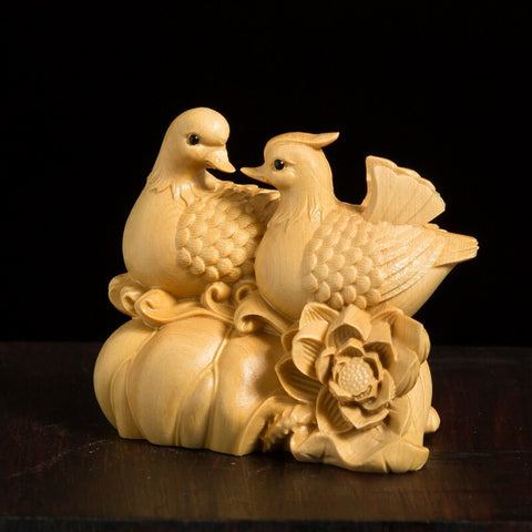 Mandarin Ducks Boxwood Figurine