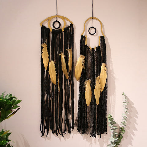 Golden Feathers on Black Handwoven Dreamcatcher Wall Art