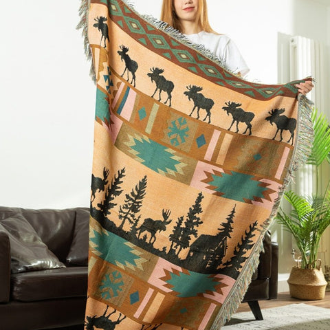 Moose Lodge Woven Throw Blanket