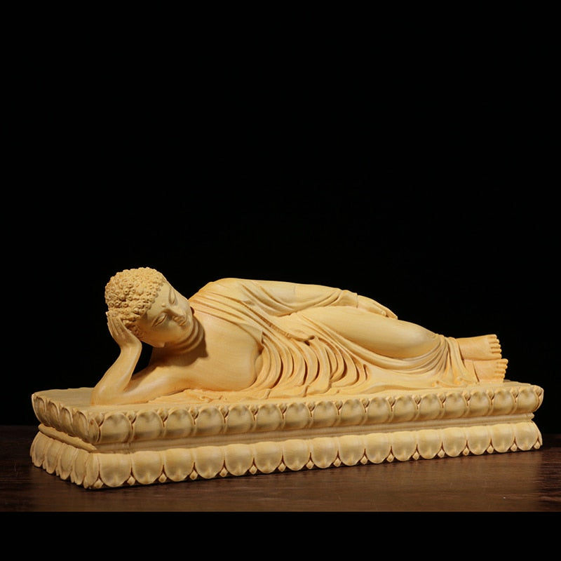 Reclining Buddha Hand-Carved Boxwood Statuette