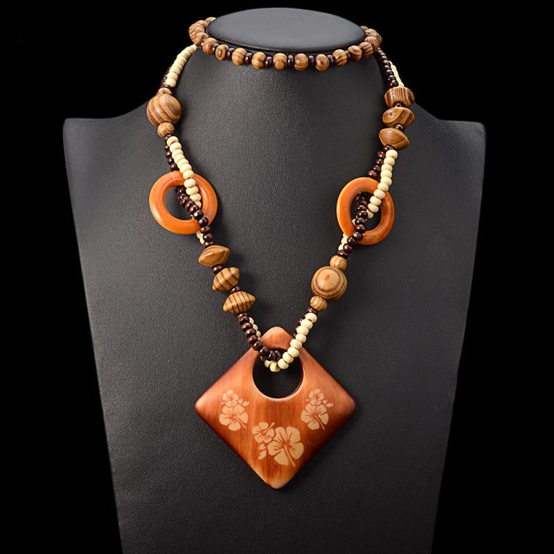 Oriana Ethnic Wood Pendant Necklace