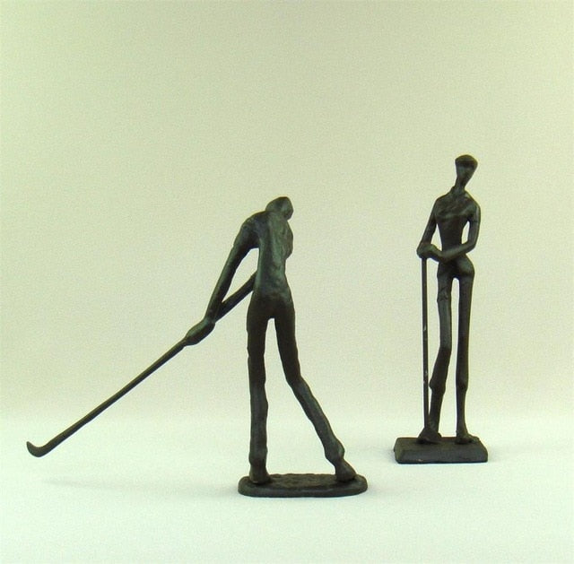 Handmade Cast Iron Art Golf Couple (Pair)
