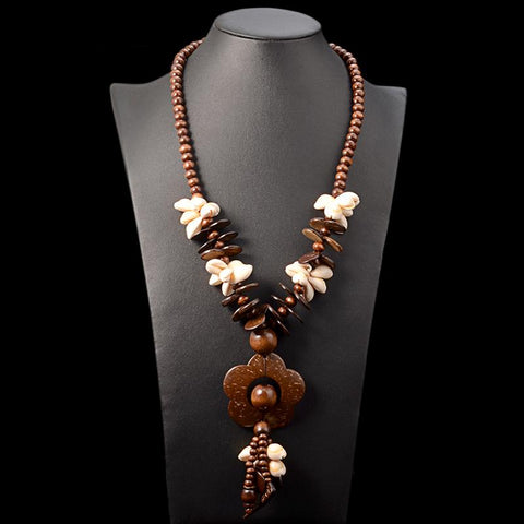 Cassandra Earth Flowers Wooden Statement Necklace