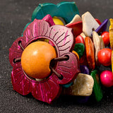 Chana Colorful Flower Wood Bracelet